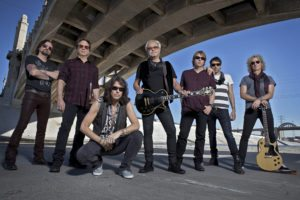 Foreigner (L-R): Chris Frazier (drums), Tom Gimbel (sax, keyboards, guitar), Kelly Hansen (lead vocals), Mick Jones (lead guitar), Jeff Pilson (bass), Michael Bluestein (keyboards), Bruce Watson (guitar). Photo Credit: Bill Bernstein